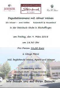 Steinbuck Stube Degu Menu Maerz 2018